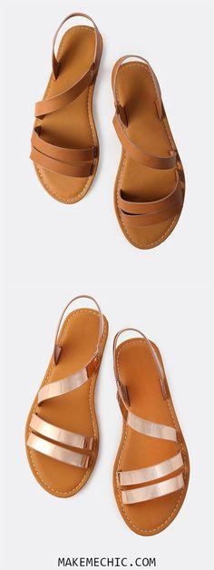Open Toe Wrap Over Sandals TAN