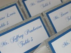 Silver Glitter &  Royal Blue Tented Place Cards by WeddingSparkles, $1.75