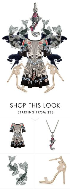 """""""Koi Carp"""" by what-happens-at-9 ❤ liked on Polyvore featuring Temperley London, Thomas Sabo, Topshop and Judith Leiber"""