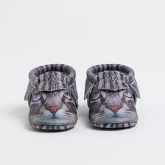 Freshly Picked limited edition kitten face leather mocs, for babies and kids. Cute!