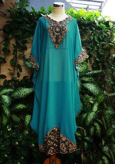 Graceful Elegant Tosca Green caftan Moroccan Style Chiffon Gold Embroidery Abaya Dubai Maxi Dress Jalabiya for women. $55.55, via Etsy.
