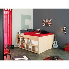 The Space Up storage bed frame fits a full size mattress. It features a raised bed that can adjust up to 34 inches tall. The bed is constructed from heavy duty laminated white particle board.