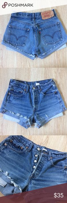 501 Levis Vintage Raw Distressed Cuffed Shorts 501 Levis Vintage Raw Distressed Cuffed Jean Mom festival Shorts these have such a nice blue vintage wash and have a Button Fly great for a 26 inch waist has a 10 inch Rise and 40 inch hips these go great with anything bundle if interested   Tags urban outfitters free people LF Pacsun Reformation One teaspoon Levi's Shorts Jean Shorts