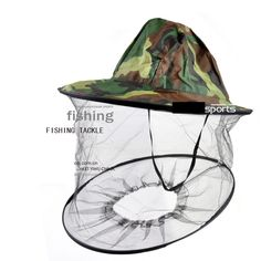 New Camouflage Anti Mosquito Fishing Hat With Net Mesh Head Cover Fisherman Hat Beekeeping Camping Mask Face Protect Caps FO29 * Haga clic en la imagen para saber más