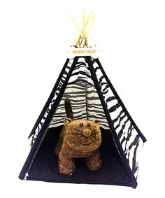 Look at this Black & White Zebra Teepee Pet Bed on #zulily today!