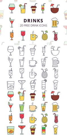 Before you Drinks Vector Free Icon Set. This is a collection of 20 high-quality icons Bullet Journal Banner, Bullet Journal Ideas Pages, Sport Videos, Icon Design, Web Design, Design Layouts, Flat Design, Drink Icon, Wreath Drawing