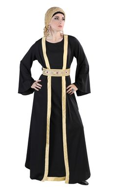 This black abaya is great for festive and special occasions like Eid! The 3 piece abaya includes:  sleeveless lining top layer, robe and belt. Fabric: ploy crepe.
