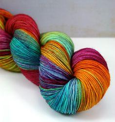 "Tickle Toes in ""Pinwheel,"" Hand Dyed Sock Yarn, Fingering Weight Superwash Merino Nylon 4-ply"