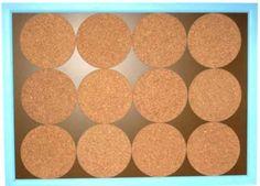 Create a cork bulletin board from kitchen trivets