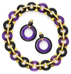 Aldo Cipullo. A Gold, Amethyst and Black Onyx Necklace and Earring Set, by Aldo Cipullo, circa 1970.  Available at FD. www.fd-inspired.com