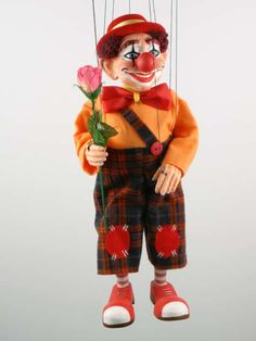 Wooden Marionette Puppets | clown marionette puppet original medium czech puppets marionettes are ...