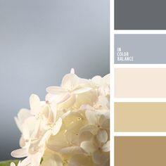 Los tonos claros y suaves de colores gris y marrón combinan muy bien entre sí.  Utiliza esta combinación para decorar un dormitorio.       La foto de dicha paleta fue sacada por la fotógrafaKorolévishna.