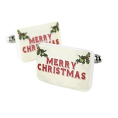 Cufflinks Merry Christmas Porcelain Ceramic NEONBLOND -- You can find more details at http://www.amazon.com/gp/product/B01L9M7VGS/?tag=christmas3638-20&pbc=260916220705