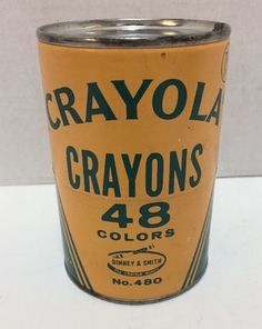 Crayola Crayons Round Tin 48 Colors Binney & Smith No 480 Made in USA Vintage #Crayola