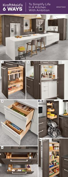 In the Kitchen with Ambition, it's all about maximizing space so you can make room for multitasking. These six KraftMaid® Kitchen Innovations will help you do just that: Base Utensil Pull-Out, Stacked Cocktail Cabinet, Base Multi-Storage Drawers, Tiered Pan Pull-Out, Sink Base with Roll-Out Trays, Tall Pantry Pull-Out.