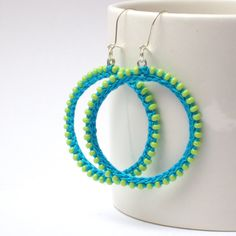 Crochet Earrings - summer fashion jewelry - bright neon green blue turquoise- free shipping. $18.90, via Etsy.