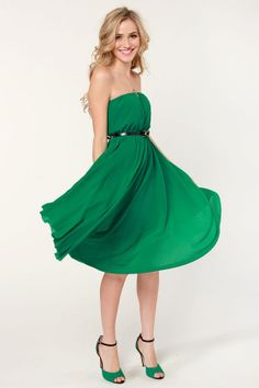 d98434725d A great green to wear to any Christmas party this season - Bows of Holly  Strapless