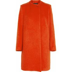 Sophie Hulme Brushed wool-blend coat ($400) ❤ liked on Polyvore featuring outerwear, coats, jackets, coats & jackets, red, sophie hulme, wool blend coat, orange coat and red coat