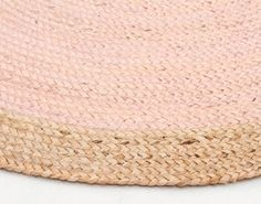 Atrium Round Jute Natural Rug Pink – Out Of The Cot