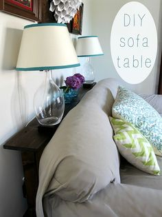 This sofa table is SO easy to make - and it's the perfect solution for small spaces! Don't clog up your room with end tables - you can use this behind your sofa…