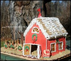 Gingerbread Chicken Coop Instructions with Video Tour! Gingerbread House Parties, Gingerbread Houses, Country Christmas, Christmas Ideas, Christmas Crafts, Turkey Farm, Chicken Chick, Backyard Chickens, House Party