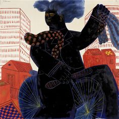 Alecos Fassianos Blue cyclist Dimensions: X in X 120 cm) Medium: oil on canvas Creation Date: 1977 Signed Contemporary Decorative Art, Modern Art, Greek Art, Figurative Art, Love Art, Art Inspo, Oil On Canvas, Spiderman, Illustration Art