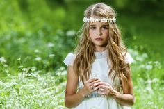 Loose Curls with Flower Wreath for First Communion