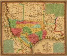 1835 Texas and Indian Territory Map Wall Map Vintage Wall Art, Vintage Posters, Indian Territory, Republic Of Texas, Texas History, Map Wall Art, Antique Maps, Antique Decor, Historical Maps