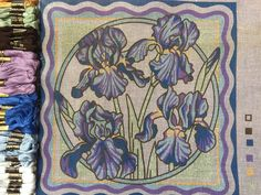Valerie Green needlepoint cushion kit, iris tapestry kit, green fingers collection by KindredClassics on Etsy Needlepoint Kits, Needlepoint Canvases, Large Cushion Covers, Tapestry Kits, Different Stitches, My Canvas, Shades Of Blue, Fingers, Iris