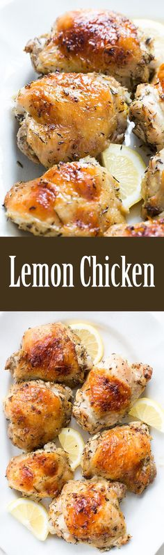 Easy lemon chicken recipe! Not too lemony, just right. With garlic, butter, lemon, thyme, and rosemary. On SimplyRecipes.com