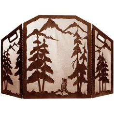 Pine Forest 3 Panel Scenic Fireplace Screen by Ironwood Industries ...