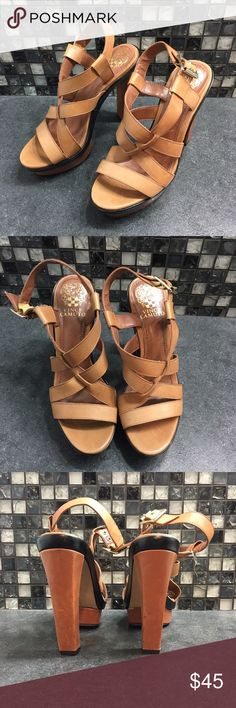 Vince Camuto leather strappy heels Walk with confidence when wearing these gorgeous Vince Camuto leather heels. They're a light brown color and have a metal closure on them. They're in excellent used condition. They are a size 7 1/2.   🌸BUNDLE AND SAVE  🌸NO TRADES 🌸REASONABLE OFFERS CONSIDERED  🌸FEEL FREE TO ASK QUESTIONS 🌸I DO NOT MODEL Vince Camuto Shoes Heels