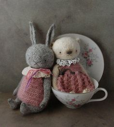 Shrunken wool duo crocheted artist dolls and bears Out of the Thistle Blog outofthethistle