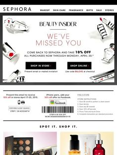 off: We miss you, Beauty Insider - Sephora Engagement Emails, Email Newsletter Design, Email Design Inspiration, Email Marketing Software, Sale Emails, Girly, Email Campaign, Email Templates, Beauty Inside