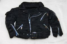 "Ravelry: Let's Ride! Crochet ""Leather"" jacket pattern for purchase by Patty Davis"