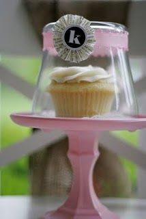 painted glass candle holder + glass candle charger = mini cupcake stand with clear glass/plastic cover for outdoor parties. OMG they are dollar tree finds...