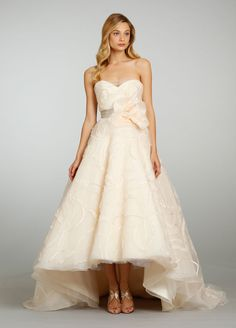 jim hjelm bridal embroidered tulle gown strapless sweetheart neckline with ribbon and floral circular high-low skirt
