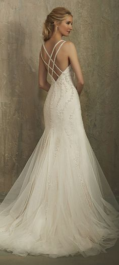 Featured Wedding Dress: Adrianna Papell Platinum; Wedding dress idea.