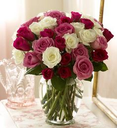 Pink and white roses are a nice alternative to red roses, although still traditional. Light pink roses traditionally mean admiration and love. A simple bouquet but the contrast between the colours really makes it stand out. Rose Bouquet Valentines, Flowers For Valentines Day, 800 Flowers, Flowers For You, White Roses, Pink Roses, Pink White, Light Pink Rose, My Flower