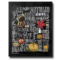 ♥ Fall Collage ♥  ♥ L I S T I N G ♥ Each image is originally hand drawn with chalk