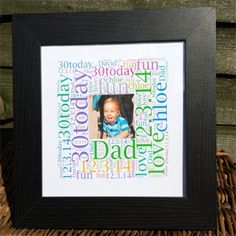 Birthday Picture Word Art Square in a black frame