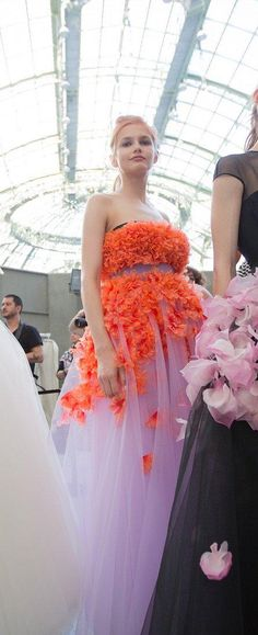 A closeup of the dresses backstage at Giambattista Valli Couture