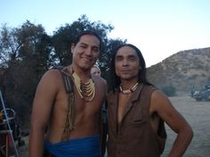 Eddie Spears and Zahn McClarnon on the set of Yellow Rock