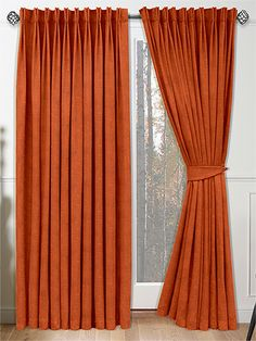Velvet Terracotta Curtains - give your home a warm, autumnal effect with these cosy orange curtains. Retro Curtains, Orange Curtains, Hanging Curtains, Window Curtains, Silver Curtains, Interior Decorating, Interior Design, Ceiling Medallions, Interior Exterior