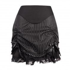 Black Stripy Short Steampunk Skirt with Ruffle and Lace at Hem