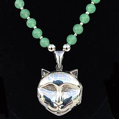 Vintage Sterling Silver Cat Locket On A Hand Beaded Chain Necklace