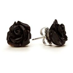 Black Rose Stud Earrings ❤ liked on Polyvore featuring jewelry, earrings, rose jewellery, rose stud earrings, rose earrings, stud earrings and rose jewelry