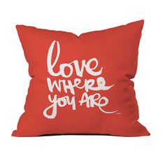 This throw pillow makes a statement wherever it's tossed. With its hip graffiti-style print, it spreads the love in any space. Choose either pillow with insert or cover only.  Find the Location Love Pillow in Red, as seen in the Curated Category: Throw Pillows Collection at http://dotandbo.com/collections/category-decor-and-pillows-pillows-throw-pillows?utm_source=pinterest&utm_medium=organic&db_sku=DNY0178