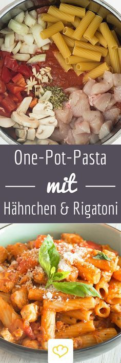 One-pot pasta with chicken, tomato and mushrooms. Sauce and pasta come from a saucepan. A shot of white wine refines the enjoyment. One Pot Pasta: Spicy Chicken Rigatoni Eveline Sauer Hauptspeise One-pot pasta with chicken, tomato an Pasta Recipes, Chicken Recipes, Dinner Recipes, Cooking Recipes, Healthy Recipes, Cooking Pasta, Pasta Food, Egg Recipes, Healthy Chicken