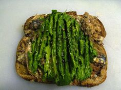 Alton Brown's Sardine-Avocado Sandwiches. (I'm having a sardine phase right now. Sardine Recipes, Fish Recipes, Seafood Recipes, Cooking Recipes, Healthy Recipes, Cooking Stuff, Healthy Lunches, Seafood Dishes, Healthy Foods